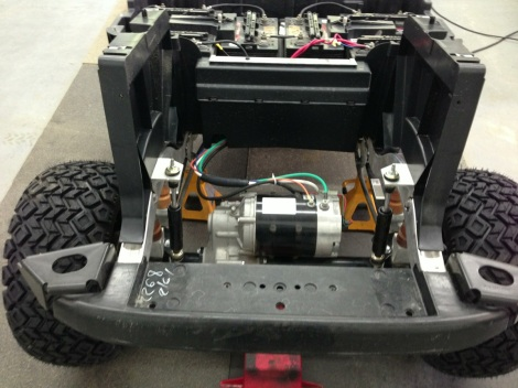 """Here is a top view of the 6"""" lift kit installed. You can also see the jounce stops, this helps to ensure the cart won't sag under load."""