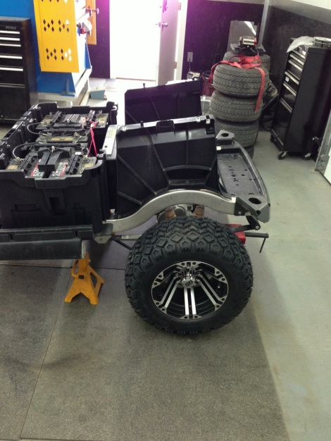 """We went with a nice 22"""" tire with a 12"""" rim for this build."""