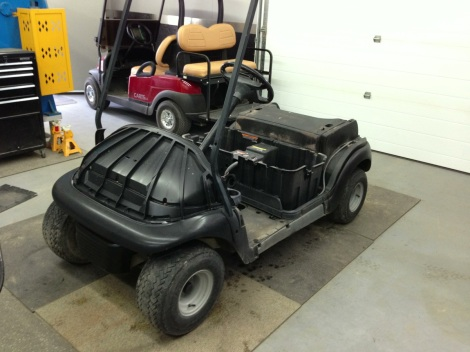 This electric Club Car Precedent just went through its complete inspection and is ready to be put together as a nice clean stock golf cart.