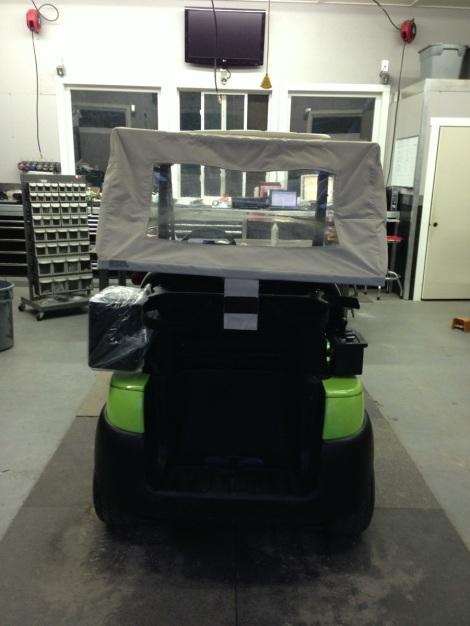 This bright Club Car got a bag cover as well.