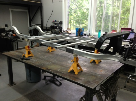 Now we have the cross members secured to the Club Car Precedent limo frame!