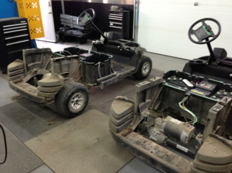 And here they are, two Club Cars disassembled. You can see why we go through this process to ensure our customers have virtually new carts!