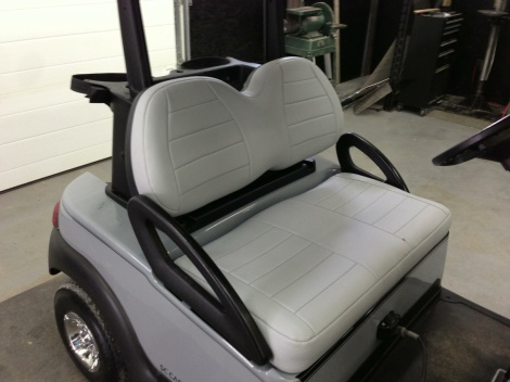 Our SC Carts custom upholstery finishes our custom carts of nicely. The added comfort is awesome as well!
