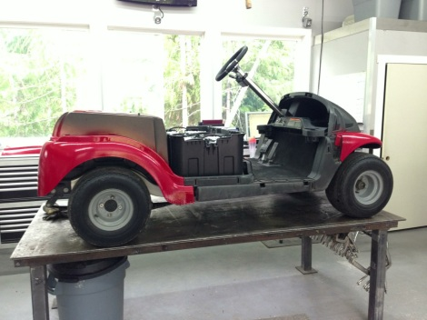 We have the buggy up on the work table, after installing HD suspension!