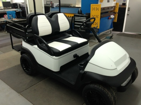 Check out the sweet custom two tone upholstery on this cool buggy!