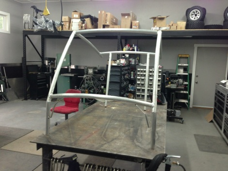 After tack welding the custom Club Car roof frame, we remove it from the cart and do the final welding on the table.
