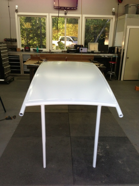 Perfect timing, the stretch golf cart roof returned from powder coat and we installed the composite aluminum roof panel!