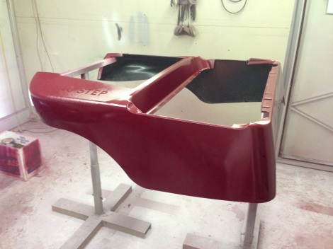 Here is the main Precedent body with the burgundy base coat applied.