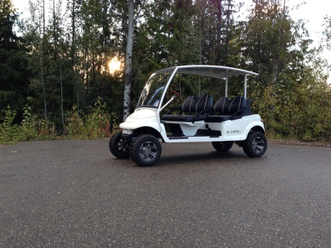 The lift kit and custom wheel and tire package give the electric buggy a bit of a mean look while still looking classy.