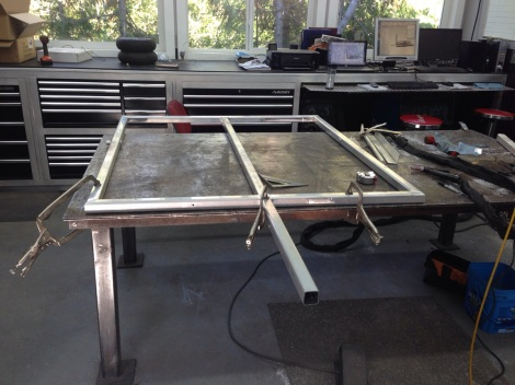 We then laid out the material, clamped and welded it to from the base of the frame.