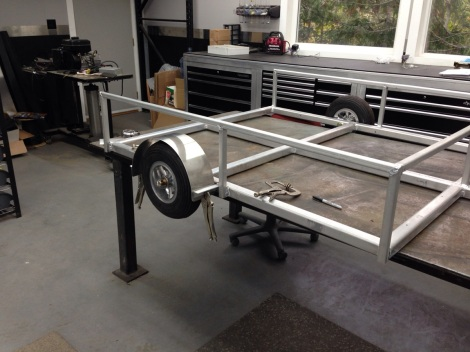 Next it was time to move on to the fenders for this custom aluminum work trailer. We formed a couple stylish aluminum fenders.