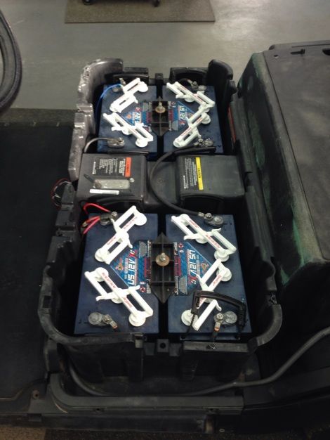 The heart of this electric beast, the 12 volt US batteries. This electric buggy is going to be one serious work horse!