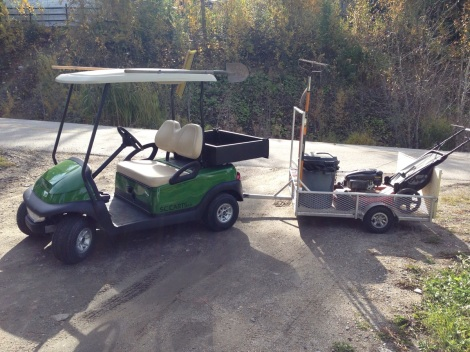 We installed the custom hitch and roof mounted holders and took the Club Car Precedent work cart for a spin.
