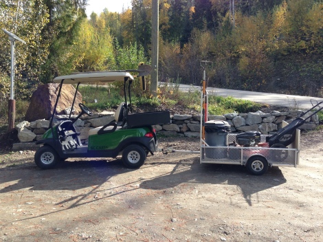 This cart Club Car is ready to work and with the trailer you can haul everything you need to get your maintenance job done.