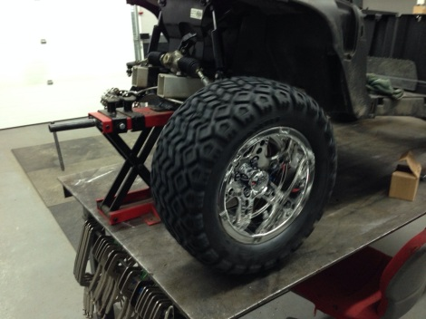 """We went with a freshly release wheel from one of our suppliers. This is a 12"""" rim with a 22"""" all terrain tire."""