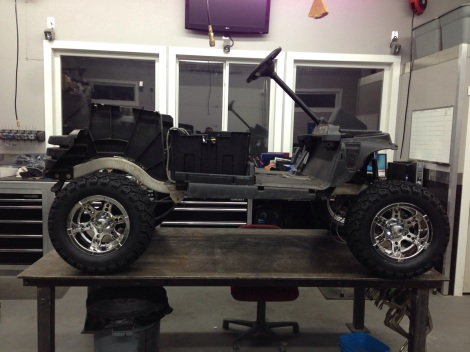 With the SC Carts complete inspection done we installed the rear wheels. What a cool looking cart already.