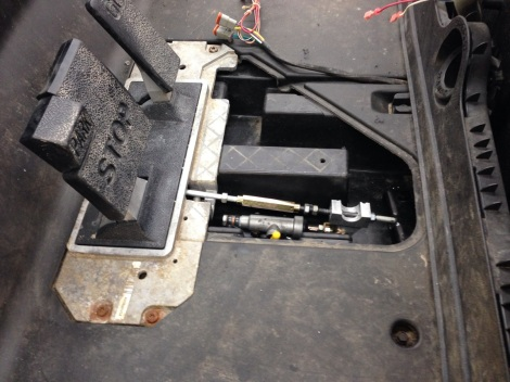 Here you can see the pedal group re installed with the new hydraulic master cylinder tucked in place.