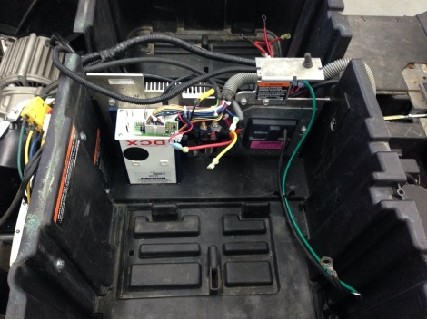 Here you can see the Alltrax controller installed back in it's factory location.