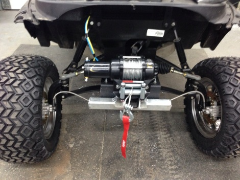 We welded on the mounting brackets to our plow tube mount and secured it to our hitch mount.