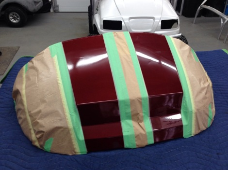 After we prepped and painted the cart House of Kolors Kandy, we masked off the cowling for some racing stripes.