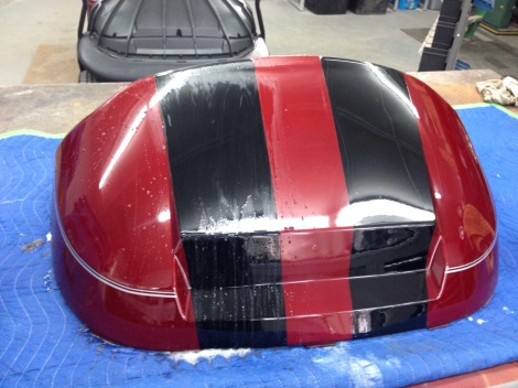 With the paint dry we wet sanded the stripes.