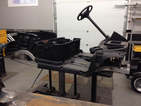 We started by disassembling this Club Car Precedent right down to the chassis.