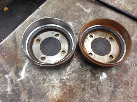 Here is a before and after comparison of the Precedent brake drums.