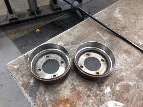 Here are both Club Car brake drums looking good as new. We will clean and degrease them and then paint them for a long lasting finish.