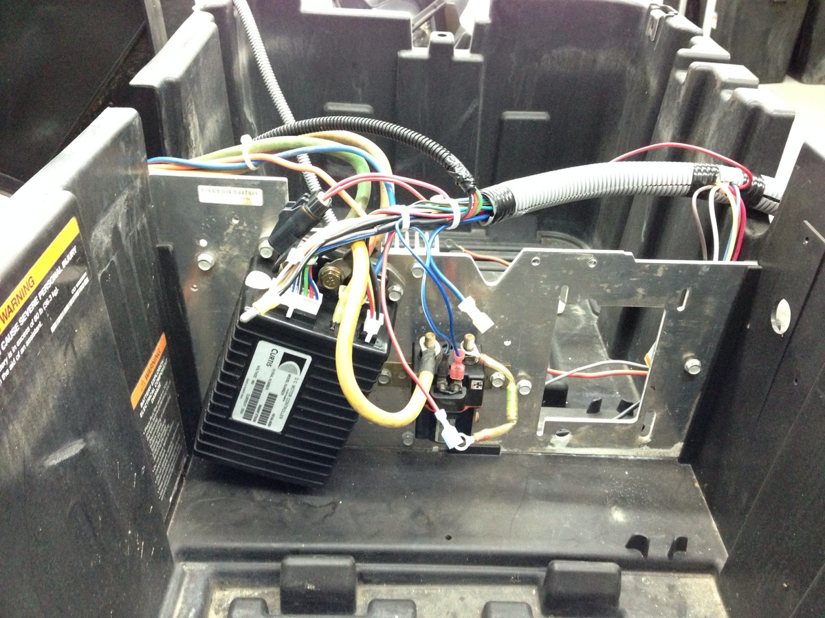 Here we connected the new Club Car wiring harness to the Curtis controller.