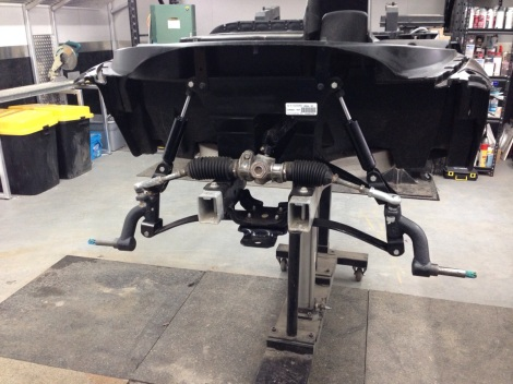 """Like the rear this Precedent is getting a 3"""" lift in the front as well. We installed the 3"""" drop spindles over the brand new king pins. This will give a nice tight front end."""