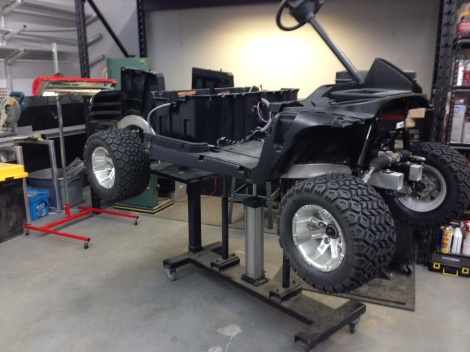 We wanted to get this cart off the lift so we installed this tire and wheel package temporarily as the actual wheel and tire package has not yet arrived.