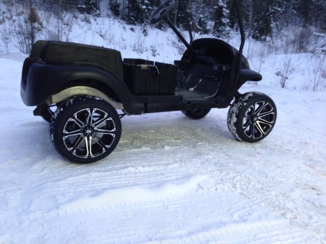 "Here is another shot of this 14"" wheel and tire package on the Club Car Precedent. The snow adds a nice touch!"