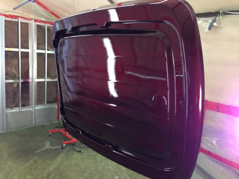 Here is the roof in the amazing matching House of Kolors Kandy paint with 3 coats of clear coat.