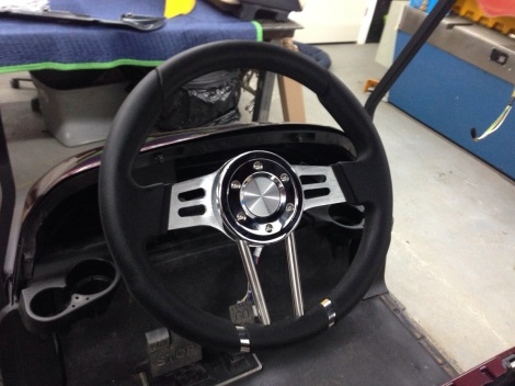This custom Precedent wouldn't be complete without a custom steering wheel.