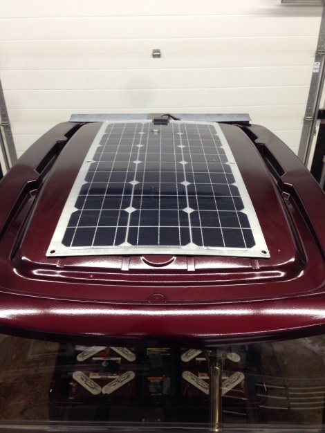 With the custom floor mat completed we moved onto the installation of the solar panel, turning the electric cart into a solar powered golf cart!
