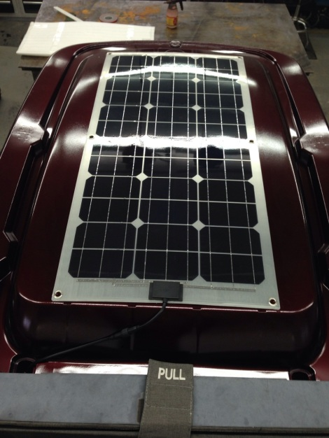 Here's another angle of the roof mounted Club Car Precedent solar charging panel.