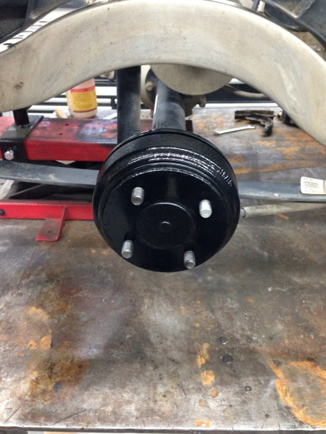 We then painted the Club Car brake drums and reinstalled them.