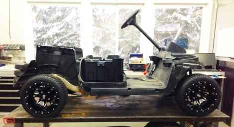 """With all the service work done to this electric buggy. It was time to add the custom 12"""" STI wheel package. This is the HD4 wheel and this is the first cart in Canada to have them."""
