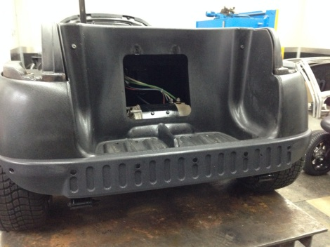 Depending on the look of the cart we like to install the rear bumper, this gives it an aggressive look, but also helps in taking some bumps.