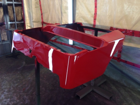 The primer sealer made way for this amazing red paint job. This Club Car is going to look awesome!