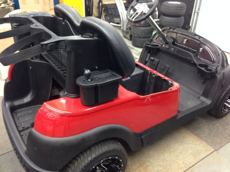 Since this is going to be a golf specific cart we added a club and ball washer to the Precedent sweater basket.