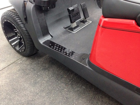 We decided this cart needed a custom set of our mat sills, so we built a set to match the STI HD4 wheels!