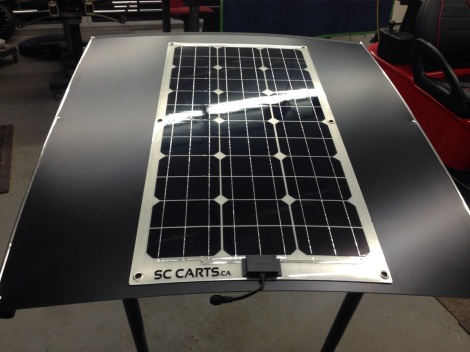 Here is the SC Carts solar panel installed on the SC Carts roof system.