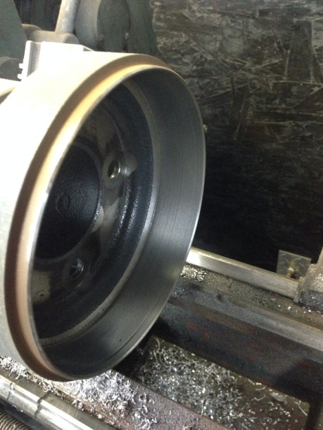 We then put the Club Car Precedent's drum brakes onto the lathe and machined them smooth as could be.