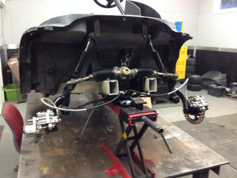 The calipers complete the front end of this hydraulic golf cart brake system!