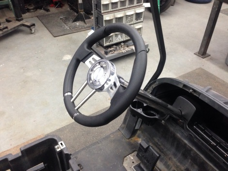 Next the custom steering column and custom steering wheel were installed.