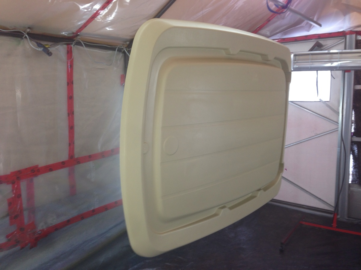 We Hung The Club Car Monsoon Roof In The Booth And Prepped It For Paint.