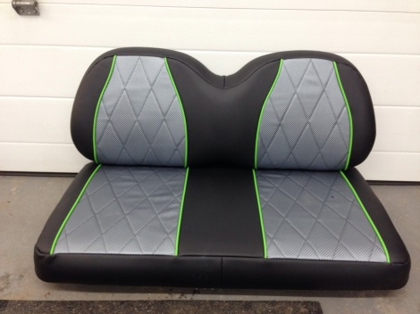 Our upholstery department has been going full steam ahead keeping up with our customers awesome requests. Here are these beautiful seats for the cart. There are matching rear seats as well. These seats were built to match the interior of the customers new Mastercraft wakeboard boat.