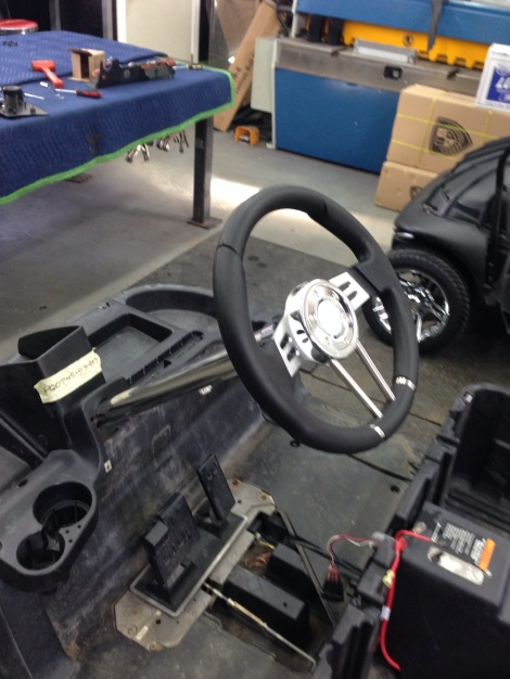 With the drivetrain completed we moved onto the installation of the custom steering wheel and polished column.