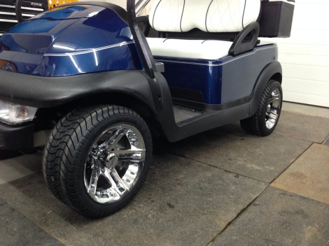 "The 12"" chrome rims look fantastic on this Club Car."
